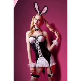 Костюм зайки Candy Girl Charity (платье с пажами, трусы, головной убор, галстук, чулки, манжеты), че