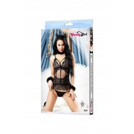 OS Комплект Candy Girl Kati (корсет, трусики, чокер, ободок-ушки, наручники), черный