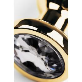 Анальный страз Metal by TOYFA, металл, золотистый, с кристаллом цвета алмаз, 10 см, Ø3 см, 95 г