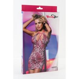 Платье с розовым леопардовым рисунком-OS