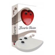 Вибратор сердце белый с подзарядным устройством 7см