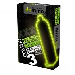 ПРЕЗЕРВАТИВЫ DOMINO NEON GREEN светящиеся 3штуки