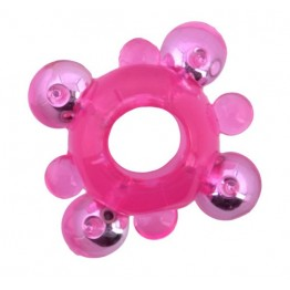 Кольцо с бусинками, розовое