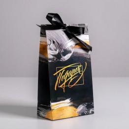 Пакет подарочный с лентой Подарок, 13 × 23 × 7 см
